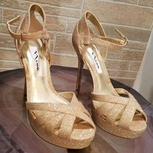 Nina Womens Gold Shoes Dress Heels pumps 7